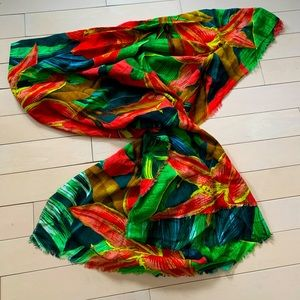 TROPICAL print summer scarf, wrap, beach cover-up